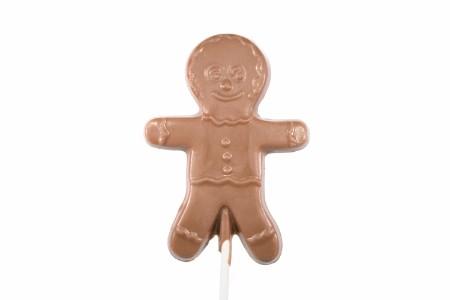 Chocolate Gingerbread Man Lollipop Flat